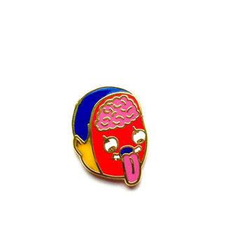 Middle Head Splice enamel Lapel pin 2 cm tall by Penelope Gazin