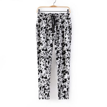 Summer Women's Fashion Lovely Mouse Cartoons Print Casual Pants [4919971204]