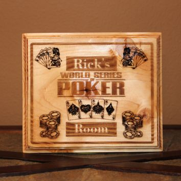 Personalized Poker Room Wood Engraved Wall Plaque Art Sign