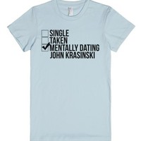 Mentally Dating John Krasinski-Female Light Blue T-Shirt