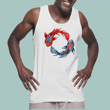 Yin Yang Koi Fish | Lightweight fashion tank for men | Graphic tank top | Original Artwork | Watercolor art | Japanese Carp art | ZuskaArt