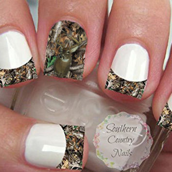 Camo Deer French Tips and Full Nail Art Decals