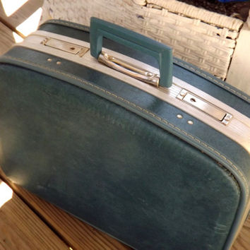 Small Suitcase Luggage, Industrial Blue Hard Case Suit Case