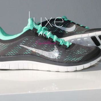 DCK7YE NIKE run free 3.0 V5 running shoes w/Swarovski Crystals detail - Dark Charcoal/Green G