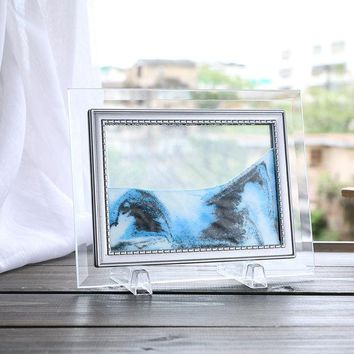 DCCKL72 Home decorations glass quicksand creative flow landscape painting birthday gifts office living room 3D hourglass Decoration