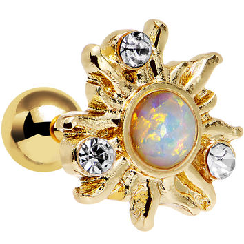 Clear Gem White Faux Opal Gold Anodized Burst Tragus Cartilage Earring