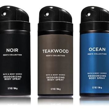 3 PACK Bath & Body Works Men's Body Spray Mist Teakwood / Ocean / Noir 3.7 oz