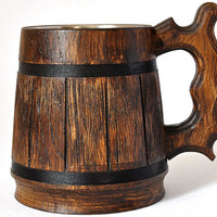 Wooden Beer mug 0,5 l (17oz) , natural wood, stainless steel inside,groomsmen gift, beer tankard, german beer Stein, Dad, grooms gift (069)
