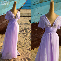 Bridesmaid Silk Chiffon Infinity Wedding Dress - Purple