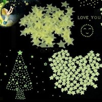 100pcs/set Green Glow In The Dark Star Wall Light Stickers Baby Kids Room Decal