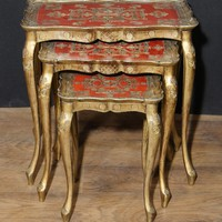 Canonbury - Antique Italian Gilt Nest of Tables Side Table Painted 1930