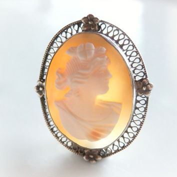 Antique Cameo Brooch Pendant - Vintage Sterling Silver Filigree Jewelry - Hand Carved Shell Cameo Pin - Forget Me Not Cameo Pendant Brooch