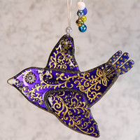Handmade BIRD of HAPPINESS glass fusing techniques newborn gift lovers mothers sisters guardian amulet talisman