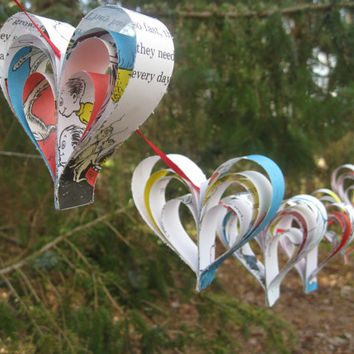 One Fish, Two Fish Dr. Seuss Heart Garland. 8 Hearts. Wedding, Shower, Birthday, Home Decor. Custom Orders Welcome. ANY BOOK Available.
