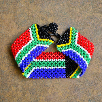 South African beaded bracelet (South Africa flag, beaded, pattern design bracelet)