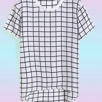 Vintage Grid Tee Shirt : High Low Shirt, Plaid Shirt, Minimalistic Fashion, 90s Tumblr Grunge, Shirt