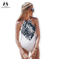 2017 Sexy White Black Leaf Printed Trikini High Cut Bathing Suit Bodysuit Monokini Maternity Swimwear Women One Piece Swimsuit