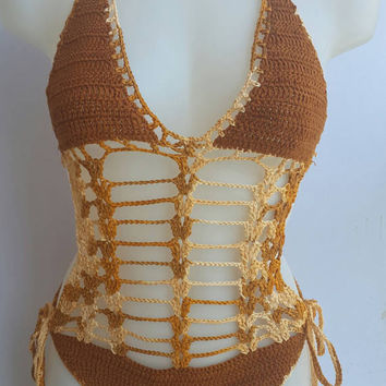 Crochet monokini, Exotic Wear, Crochet swimwear, Crochet bikinis, Swimwear, Lace bikini, Crochet swimsuits, Beachwear, Crochet bathing suit