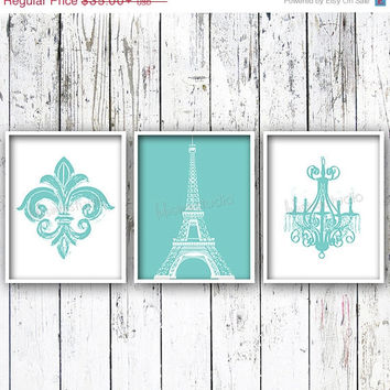 SALE Fleur De Lis Eiffel Tower Chandelier Set of 3 - Wall Decor - Paris Bedroom Decor - Paris Decor - Nursery Art - Bedroom Art - Girls Room