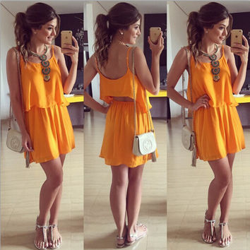 Spaghetti Strap Cropped Top A-Line Pleated Mini Dress