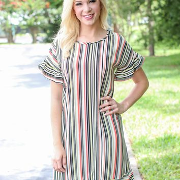 Candy Stripe Ruffle Dress