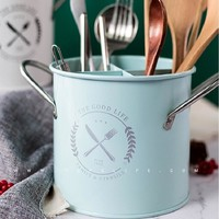 The Good Life Vintage Partitioned Utensil Storage Bucket