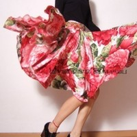 50s Audrey Hepburn White Red Floral Cotton Pleated Full Circle Skirt | yystudio - Clothing on ArtFire