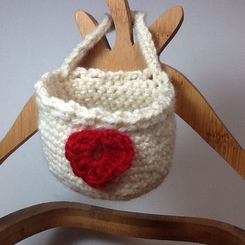 Valentine Doorknob basket, crochet, wool,  hanging basket - organizing container - basket storage bin - heart embellishment - hook basket