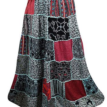 Mogul Interior Festive Skirt Ethnic Black Printed Indian Patchwork Long Maxi Skirt