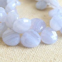 Outstanding Blue Lace Agate Gemstone Briolette Faceted Heart Top Drilled 10mm 22 beads 1/2 strand