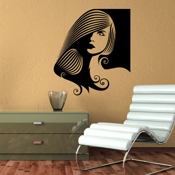 Wall Decal Fashion Beauty Salon Face Girl Woman Long Hair Design Vinyl Decals Wedding Hair Salon Hairdressing Living Room Home Decor 3776