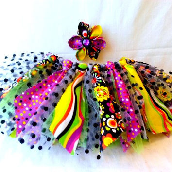 1 to 2 year old tutu and headband set - shabby chic tutu - birthday tutu - toddler costume - scrappy tutu - black yellow purple polka dots