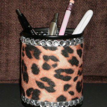 Animal Print & Bling Pen/Pencil Cup Holder - Cheetah Print
