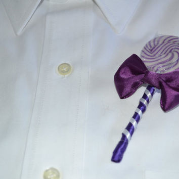 Purple Lollipop Candy Boutonniere, Purple Wedding, Purple Boutonniere, Candy Boutonniere, Lollipop Boutonniere, Buttonhole, Lollipop Wedding