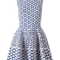 Alexander McQueen embossed cut out flower jacquard dress