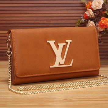 LV Women Shopping Leather Chain Satchel Shoulder Bag Crossbody-2