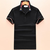 GUCCI 2018 new bee embroidered lapel POLO shirt lapel short-sleeved T-shirt F-A00FS-GJ black