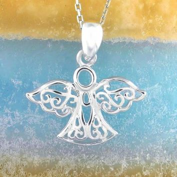 Filigree Angel Necklace With Open Wings