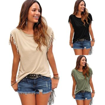 Solid Color Fashion Short Sleeve T-Shirt