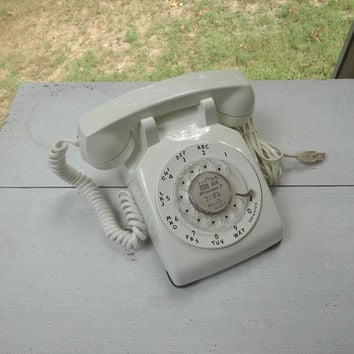1960s Vintage White Rotary Dial Telephone by Western Electric, Bell System, Non-Remove Headset Cord, Wall Cord, Vintage Phone, Vintage Tech