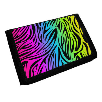 Rainbow Zebra Print Trifold Wallet All Over Print