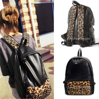 Fashion Black PU Leather Leopard Stud Backpack Book School Handbag Shoulder Bag