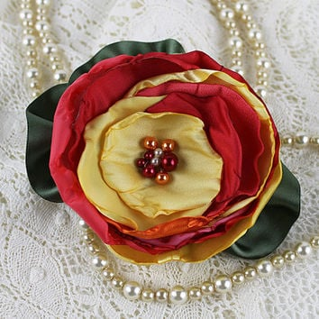 Red and Yellow Singed Fabric Flower Brooch, Millinery, Floral Corsage, Hat Flowers