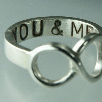You & ME Infinity Symbol Ring Sterling Silver Infinity Ring   ExCognito - Jewelry on ArtFire
