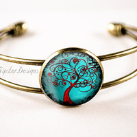 Antiqued Bronze Bangle Bracelet - Abstract Tree Art 014