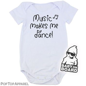 Baby's Printed Bodysuit - Music Makes Me Dance