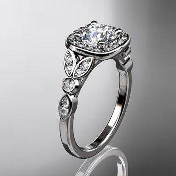 platinum diamond leaf and vine wedding ring,engagement ring  with Forever Brilliant moissanite center stone,ADLR179