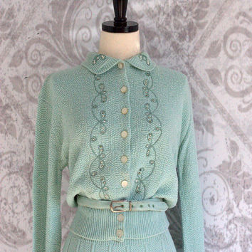 Vintage 1950s Sweater Dress 50s Sweater Set Beaded Sweater Dress Mint Green Dress Rockabilly Clothing Pin Up Dress Womens Size Small Medium