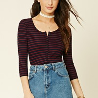 Buttoned Stripe Knit Top