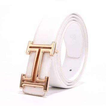 Hermes Fashion New H Buckle Women Men Leisure Personality Belt White